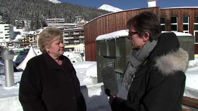 Norwegian Prime Minister interview Erna Solberg interview SOT on dealing with refugee crisis would be surprised if Britain decides on a model like...
