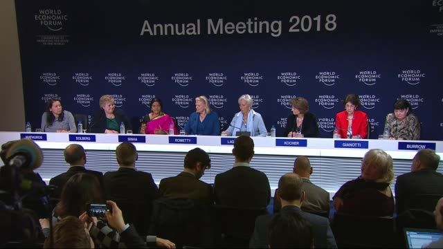 concern at lack of female delegates switzerland davos int panel of women cochairing the world economic forum at press conference reporter asking... - leitende person stock-videos und b-roll-filmmaterial