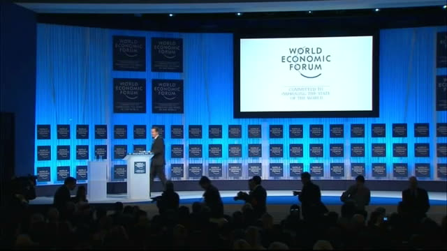 david cameron urges eu leaders to make bigger cuts int cameron along to podium on stage david cameron mp speech at world economic forum sot yes tough... - jahreshauptversammlung stock-videos und b-roll-filmmaterial