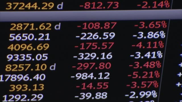 stockvideo's en b-roll-footage met world economic forum in davos / global stock markets fall over price of oil england london int stock market prices on electronic screen red writing... - prijskaartje