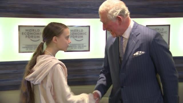 prince charles meets greta thunberg switzerland davos prince charles prince of wales along and shaking hands with greta thunberg - ダボス点の映像素材/bロール