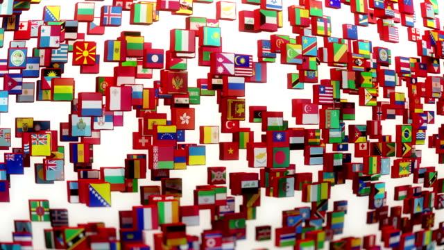 vídeos de stock, filmes e b-roll de bandeiras mundiais - map pin icon