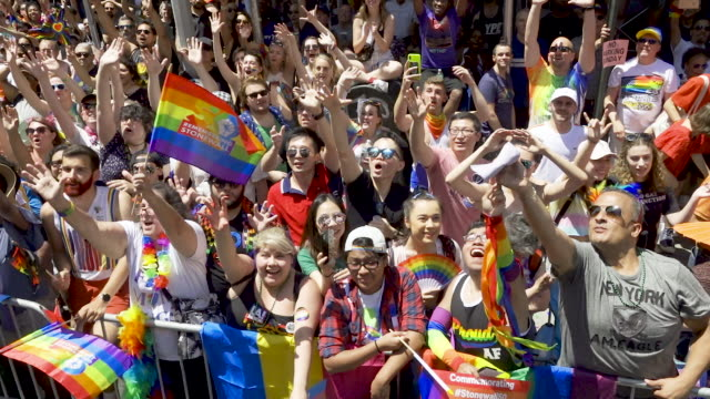 world gay pride nyc commemorating the 50th anniversary of the stonewall riots/uprising. . - pride stock videos & royalty-free footage