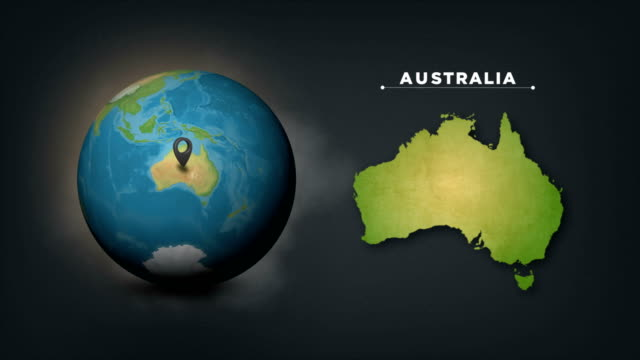 4k world globe map with australia country map - direction stock videos & royalty-free footage