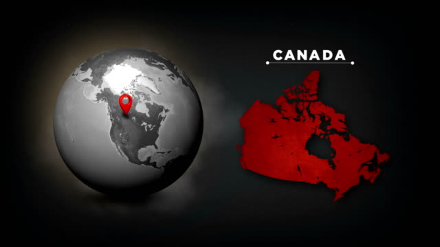 4k world globe map with canada country map - canada stock videos & royalty-free footage