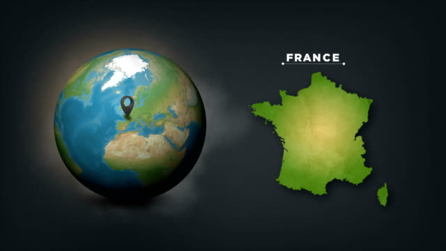 stockvideo's en b-roll-footage met 4k wereldwereldkaart met de landkaart van frankrijk - europese cultuur