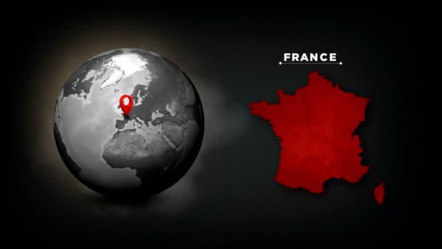 vidéos et rushes de carte du globe 4k world avec la carte de pays de france - gris