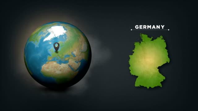 4k weltweltkarte mit deutschland landkarte - symbol stock-videos und b-roll-filmmaterial