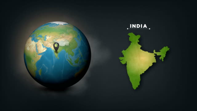 4k world globe map with india country map - india stock videos & royalty-free footage