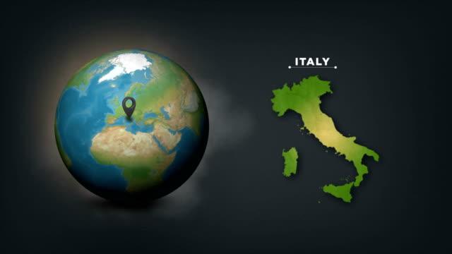 vidéos et rushes de carte du globe 4k monde avec la carte de pays d'italie - géographie physique