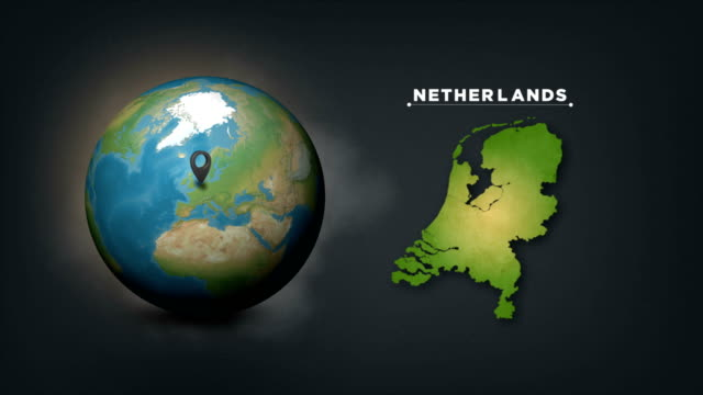 4k world globe map with netherlands country map - pinning stock videos & royalty-free footage