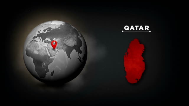 4k world globe map with qatar country map - qatar stock videos & royalty-free footage