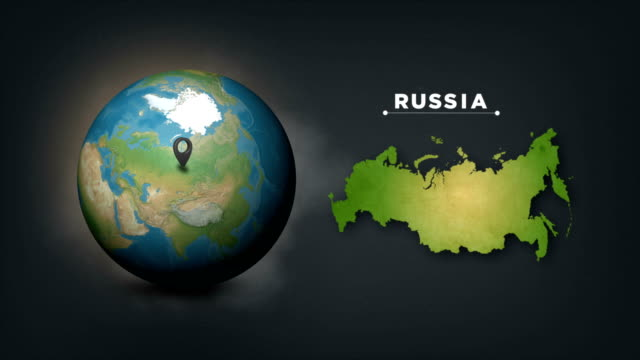 4k world globe map with russia country map - moscow russia stock videos & royalty-free footage