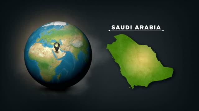 4k world globe map with saudi arabia country map - saudi arabia stock videos & royalty-free footage