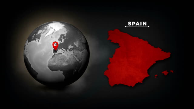 4k world globe map with spain country map - spain stock videos & royalty-free footage