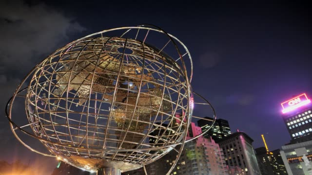 world globe unisphere design by kim brandell columbus circle upper west side manhattan broadway usa time lapse world globe unisphere new york city on... - flushing meadows corona park stock videos and b-roll footage