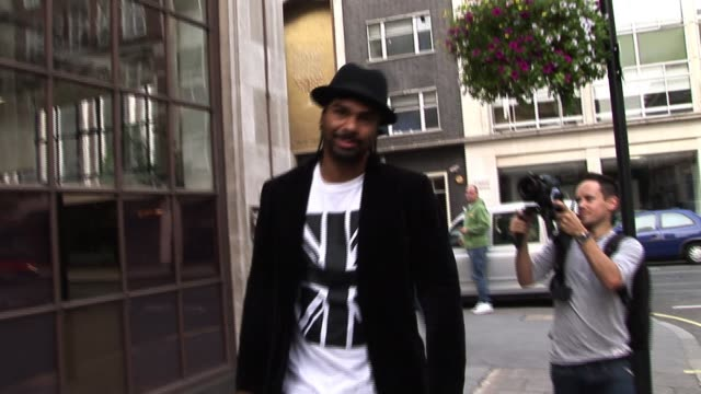 world heavyweight champion david 'the hayemaker' haye arrives at bbc radio one to talk about his forthcoming world heavyweight bout with audley... - bbc radio stock videos & royalty-free footage