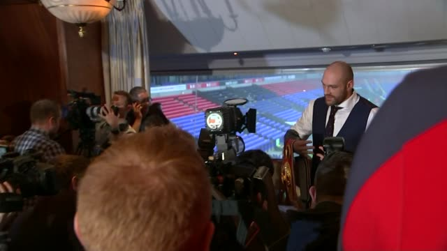 world heavyweight champion tyson fury interview england greater manchester bolton macron stadium int tyson fury photocall at press conference holding... - boxing heavyweight stock videos & royalty-free footage