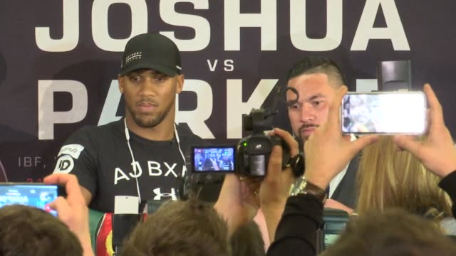 joshua v parker presser anthony joshua and joseph parker posing for photocalls joseph parker interview sot - world championship stock videos and b-roll footage