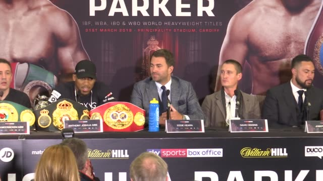 joshua v parker presser england london various of press conference for the world heavyweight championship boxing bout between anthony joshua and... - world championship stock videos and b-roll footage