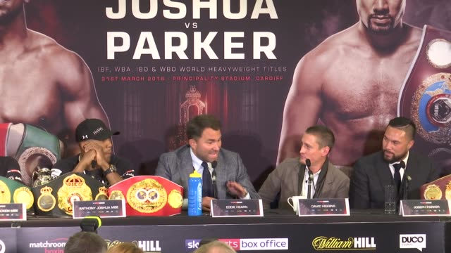 Joshua v Parker presser Various of press conference for the World Heavyweight Championship boxing bout between Anthony Joshua and Joseph Parker...