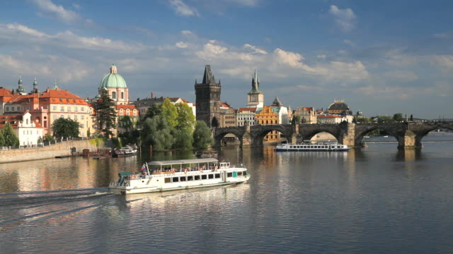 unesco world heritage site, charles bridge and the vlatava river, old town, prague, czech republic, europe - フラッチャニ城点の映像素材/bロール
