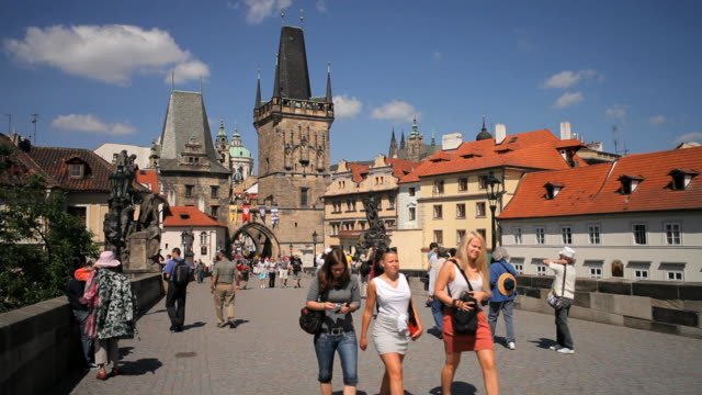 unesco world heritage site, charles bridge, prague, czech republic, europe - hradcany castle stock videos and b-roll footage