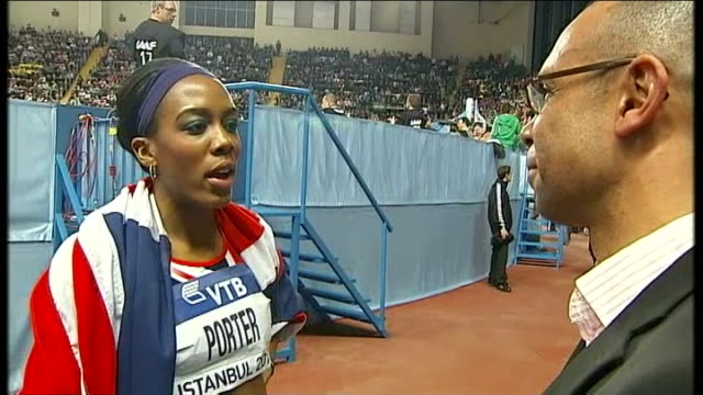 stockvideo's en b-roll-footage met britain wins gold in women's relay tiffany porter interview sot just focussing on competing here - teamevenement