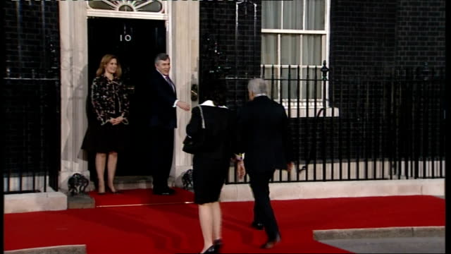 G20 World leaders and other guests arrive for G20 dinner ENGLAND London Downing Street Number Ten PHOTOGRAPHY * * Gordon Brown MP smiling next his...