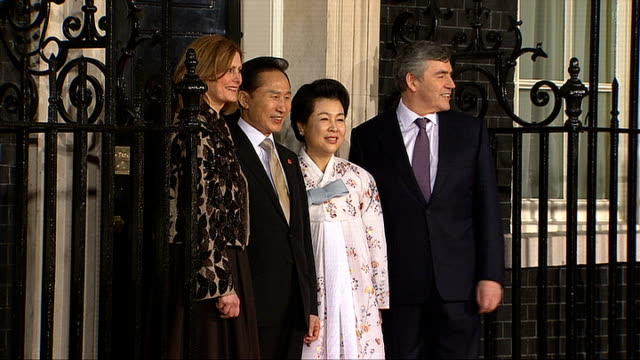 G20 World leaders and other guests arrive for G20 dinner Lee Myungbak along red carpet next his wife Kim Yoon Ok greeted by Brown and Sarah then...