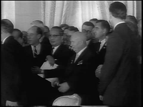 pan world leaders applauding after signing atomic test ban treaty / newsreel - treaty stock videos and b-roll footage