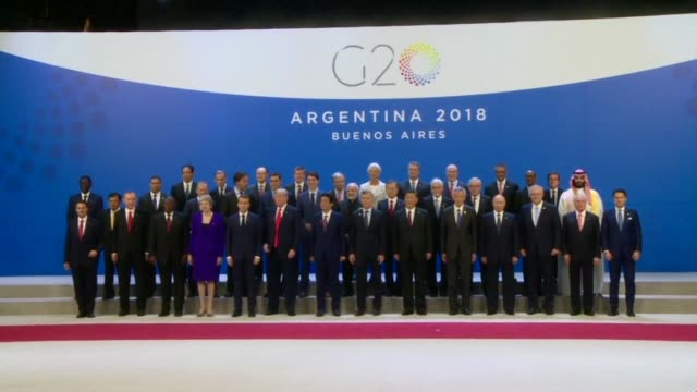 world leaders assemble for a family photo on the opening day of argentina g20 leaders' summit 2018 at costa salguero in buenos aires - group of 20 stock videos & royalty-free footage