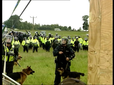 world leaders at gleneagles whilst protesters clash with police; scotland: gleneagles: ext gv bv protestors confront police inside perimeter fence... - iron bars for windows stock videos & royalty-free footage