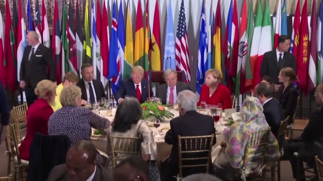 world leaders including us president donald trump german chancellor angela merkel and india's prime minister narendra modi attend a luncheon at the... - angela merkel stock videos & royalty-free footage