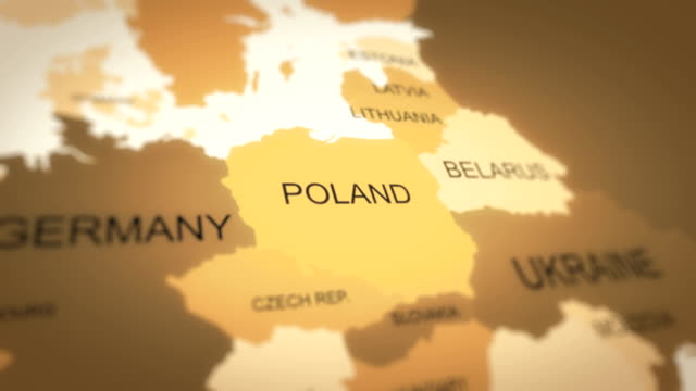 4k world map animation (poland) - poland stock videos & royalty-free footage