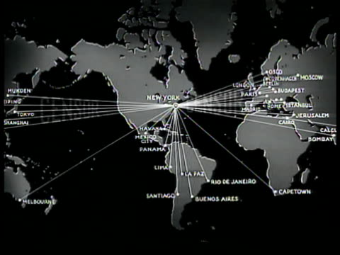 world map central focus on new york usa w/ lines extending to other countries. 'censor' superimposed over map. - censorship stock videos & royalty-free footage
