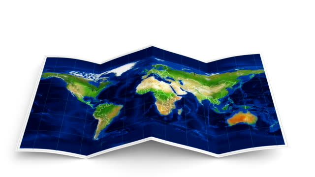 world map folds out on white. three in one. - brochure stock videos and b-roll footage