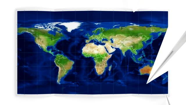 Weltkarte der sich auf weiß.  Three-in-one.