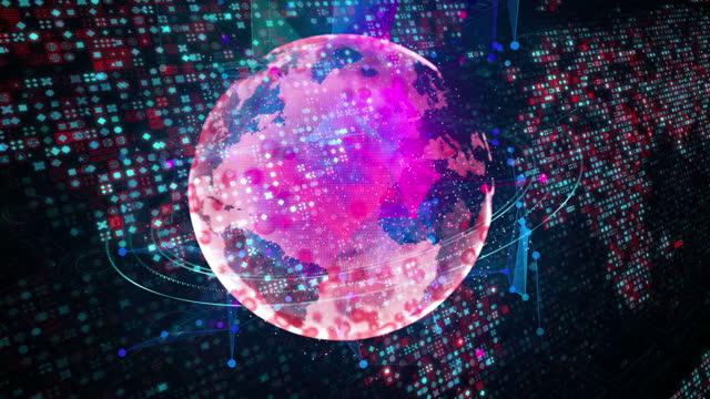 vidéos et rushes de carte du monde, global business, global, carte, blockchain - economy