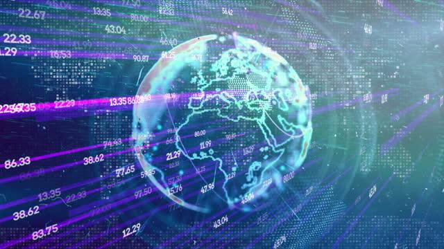 世界地図, グローバルビジネス, グローバル, 地図, ブロックチェーン - イーサリアム点の映像素材/bロール