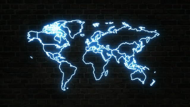 世界地図アイコン、ネオンサイン - 平面形点の映像素材/bロール