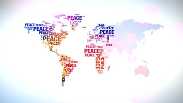 world map made aout of peace words - symbols of peace stock videos & royalty-free footage