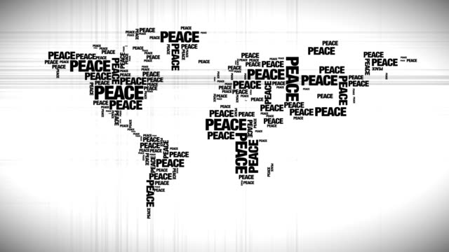 World map made out of peace words