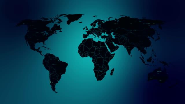 vídeos y material grabado en eventos de stock de mundo mapa red concepto - cadena de bloques