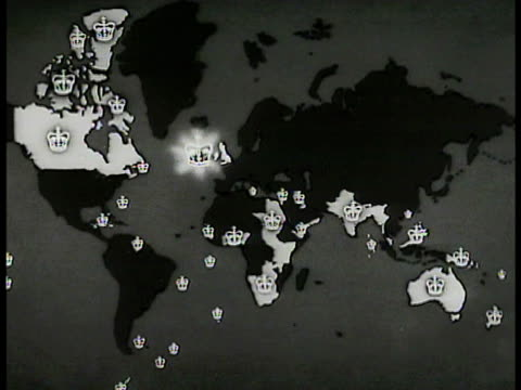 world map of british territory highlighted & identified by crowns. - world map stock videos & royalty-free footage