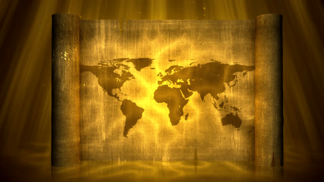 world map on papyrus - paper scroll stock videos and b-roll footage