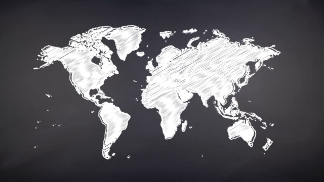 world map scribbling on a chalkboard - scribble stock videos & royalty-free footage