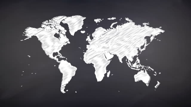 world map scribbling on a chalkboard - drawing art product stock videos & royalty-free footage
