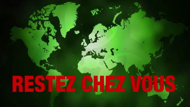 world map showing virus outbreaks and restez chez vous slogan. - french language stock videos & royalty-free footage