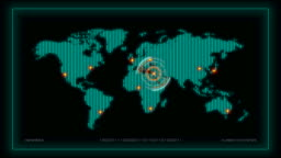 World map surveillance with different cities highlighted, includes glitch effects and special effects